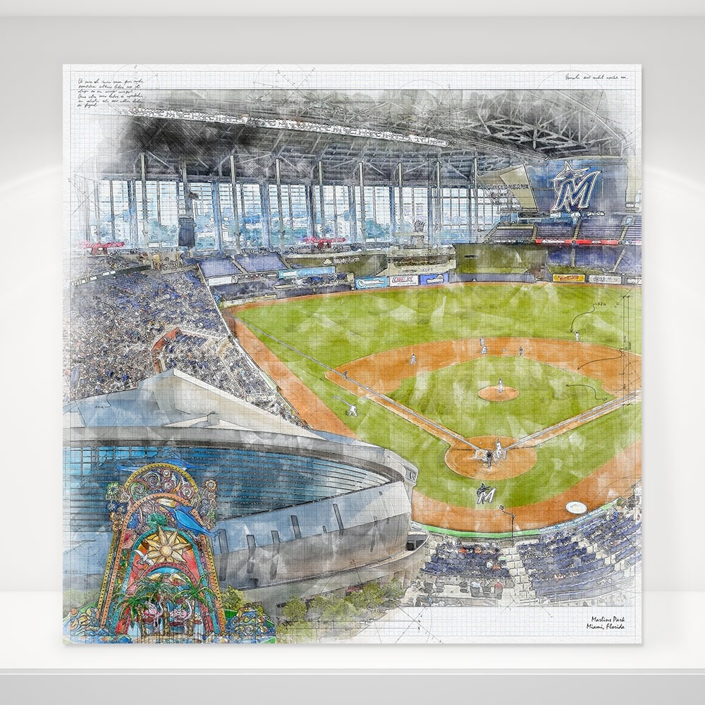 Marlins Park Baseball Stadium Print Miami Marlins Baseball